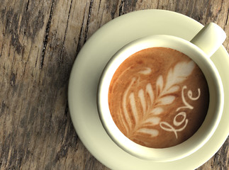 Taza de café con dibujo