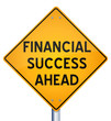 Financial success ahead - road sign