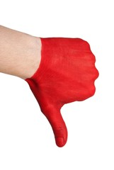 red hand thumbs down