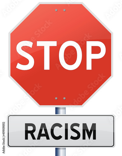 Vector 'Stop Racism' sign isolated on white