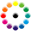 Glossy balls with different colors in a circle