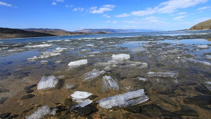 Baikal in spring. Melting of ice