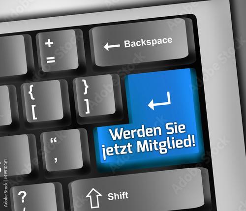 """Keyboard Illustration """"Werden Sie jetzt Mitglied!"""""""