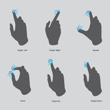 touch screen gesture, interface (vector hand icons) set