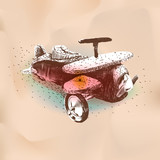 Hand drawing toy vintage airplane, vector eps10 image.