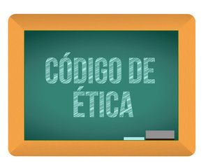 Code of ethics blackboard in Spanish