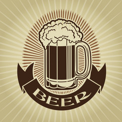 Retro Styled Beer Mug Seal / MArk