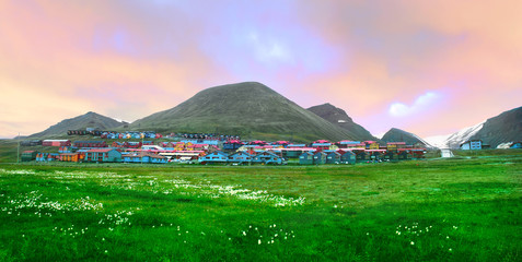 View of Longyearbyen, Norway, Spitsbergen (Svalbard)
