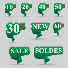 Origami Sale Banners Green