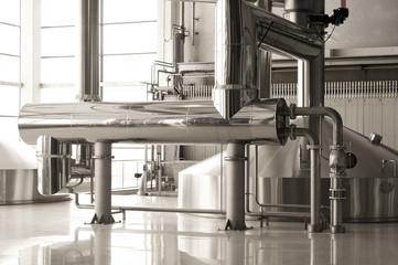 Interior of modern brewery