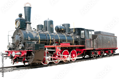 Old train isolated on white - 49912439