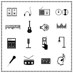 Set of music icons, Vector illustration