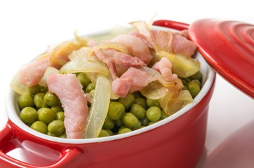 Small Peas cooked with bacon.