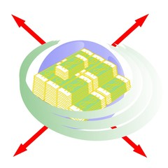 role of money on a planet Earth,  vector