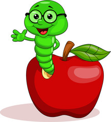 Worm and apple