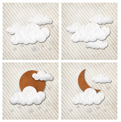 Weather paper and leather craft stick on paper background