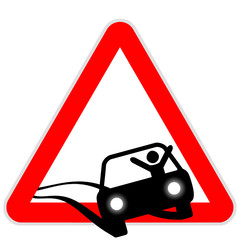 Sinal de perigo original - carro a despistar-se