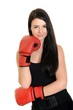 Young beautiful woman with boxing gloves
