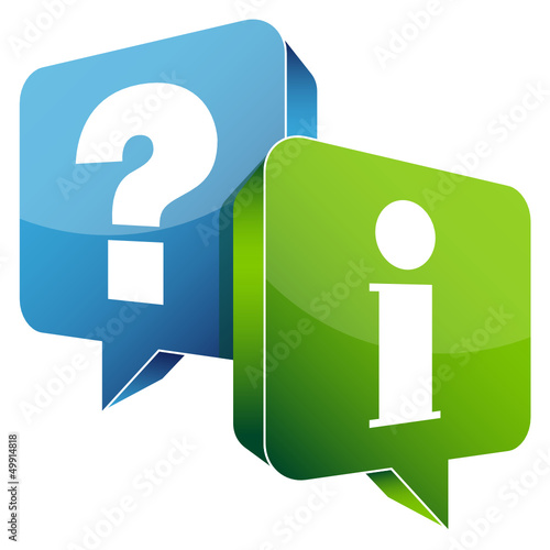 Speech Bubbles Question Blue & Information Green