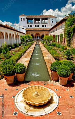 Garden of Alhambra in Granada, Spain.