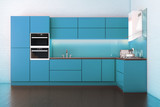 Electric Blue Hi-Tech Luxury Kitchen Cabinet