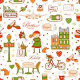 Paris Travel background, seamless pattern