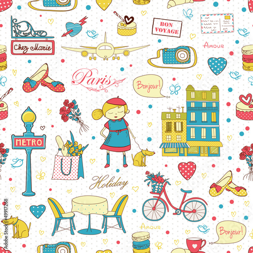 Tuinposter Doodle Paris Travel background
