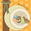 baby shower card with sleeping teddy bear