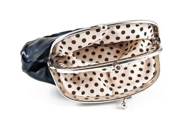 Empty open black purse