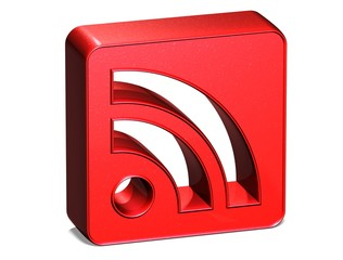 3D Rss Red Sign on white background