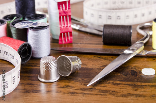 Sewing kit on wood table