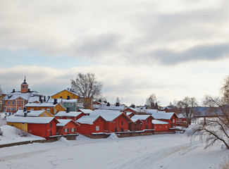 Finland. Old Porvoo in winter. Cloudy day