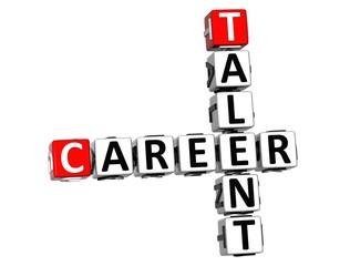 3D Talent Career Crossword on white background