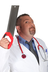Scary surgeon holding saw