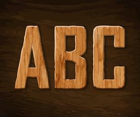 Alphabet made ​​of wood