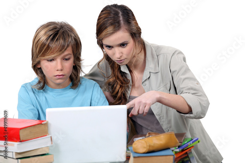 Two kids studying together