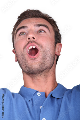 Man shouting for joy