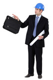 Engineer holding a briefcase