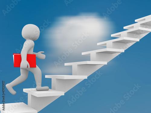 3d man climbs the ladder of success and a virtual career