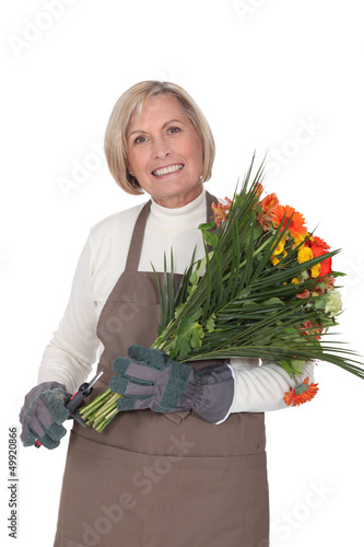 Horizontal image of female florist