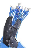 Blue electric wires with terminals and crimping tool poster