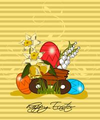 Ostern, Karte mit Wagen und Osterei