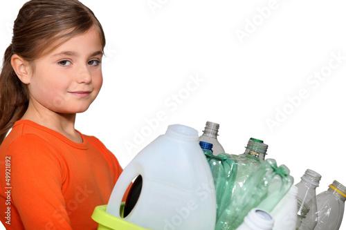 little girl waste sorting