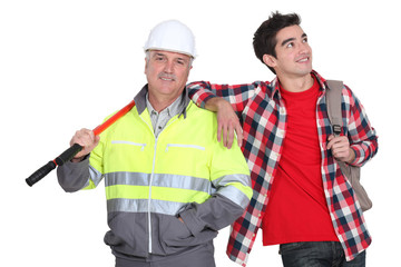 Builder stood with new employee