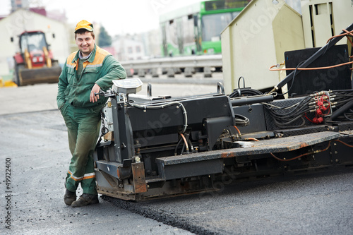 asphalt road worker