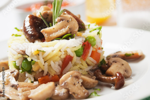 Risotto with mushrooms and vegetables
