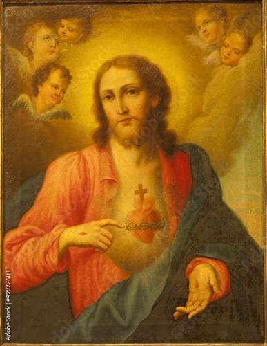 Verona - Heart of Jesus Christ. Paint from church San Lorenzo