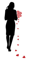 silhouette of a girl with a bouquet of roses and  hearts