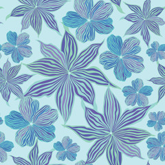 floral seamless vector background from lilac and blue flowers