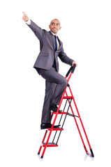 Businessman with the ladder isolated on white